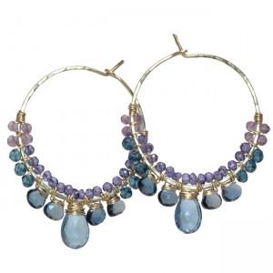 Dark Purple Gemstone Earrings with Amethyst
