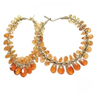 Orange Garnet Gemstone Earrings with Mixed Gems