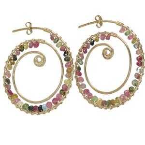 Multi Colored Gemstone Hoop Earrings, Swirled