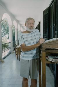 Author Ernest Hemingway at his DIY standing desk.