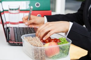 Healthy snacks is one way to eat healthy at work.