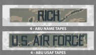 Name and USAF Branch Tape bundle for ABU Uniforms from Kel-Lac