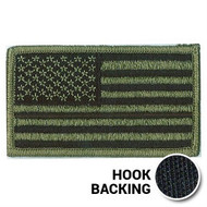 Olive drab American flag patch with hook backing