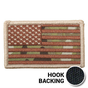 Multicam American Flag Patch with hook backing