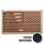 Reversed American flag patch in OCP Multicam with hook backing