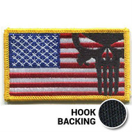 Full color Punisher skull American flag patch with hook backing