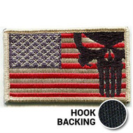 Desert color Punisher skull American flag patch with hook backing