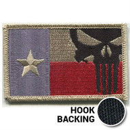 Texas Flag Patch, Punisher - Embroidered - Desert (w/ Hook Back)