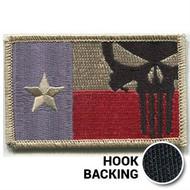 Desert Texas flag patch with Punisher skull & hook backing