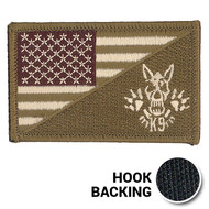 OCP Multicam K-9 Skull American Flag patch with hook backing
