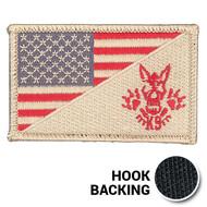 Desert tan K-9 skull American flag patch with hook backing