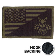 Olive drab K-9 skull American flag patch with hook backing