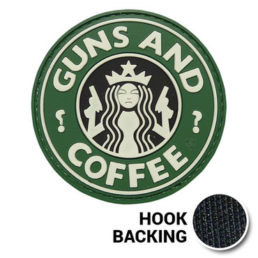 Guns and Coffee PVC Morale Patch with Hook Backing