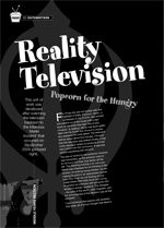 Reality Television: Popcorn for the Hungry