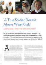 A True Soldier Doesn't Always Wear Khaki': Anzac Girls and The Crimson Field