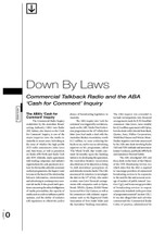 Down By Laws: Commercial Talkback Radio and the ABA 'Cash for Comment' Inquiry