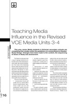 Teaching Media Influence in the Revised VCE Media Units 3-4