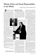 Morals, Ethics and Social Responsibility in the Media: The Jack Clancy Lecture, October 1996