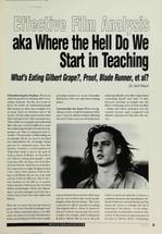 Effective Film Analysis: Aka Where the Hell Do We Start in Teaching 'What's Eating Gilbert Grape', 'Proof', 'Blade Runner', et al?