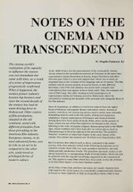 Notes on the Cinema and Transcendency