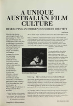 A Unique Australian Film Culture: Developing an Indigenous Screen Identity