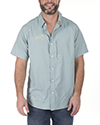 Short sleeve ripstop button front shirt Fin Commander™ embroidery on right chest  Left chest vertical zipper closure pocket Back yoke and side laser ventilation Commander embroidery on back shoulder