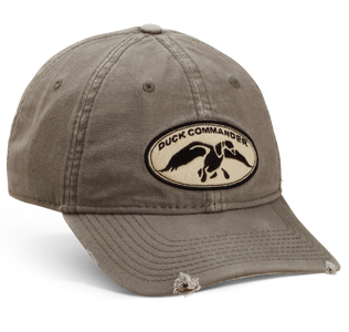 Distressed Olive Duck Commander Logo Hat