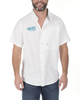 Short sleeve ripstop button front fishing performance shirt, Fin Commander™ embroidery on right chest , Left chest vertical zipper closure pocket, Back yoke and side laser ventilation, Commander embroidery on back shoulder