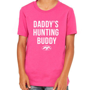 Daddy's Hunting Buddy Youth Pink T-Shirt