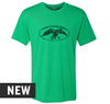 Envy Green, Tri-blend, crew cut, unisex tee with distressed Duck Commander logo screen printed in black on the front. 50% Poly 25% Combed Ring-Spun Cotton 25% Rayon.
