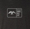"""Black Heather, tri-blend, crew cut, unisex, short sleeve tee. """"Arise Kill Eat"""" graphic screen printed on the front chest. 50% Poly 25% Combed Ring-Spun Cotton 25% Rayon"""