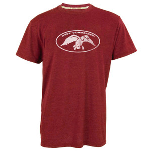 Heather Red, Triblend, short sleeve tee with a Screen-printed distressed logo in tan ink. (50% Polyester, 37% Cotton, 13% Rayon)