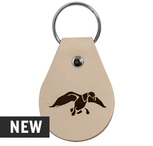 "Light Tan, rounded, genuine leather keychain (approx 3"" x 2.25"") with the duck graphic etched into the front. Color may vary and subject to change overtime."