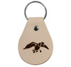 """Light Tan, rounded, genuine leather keychain (approx 3"""" x 2.25"""") with the duck graphic etched into the front. Color may vary and subject to change overtime."""