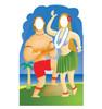 Hawaiians with Ukulele Stand-in