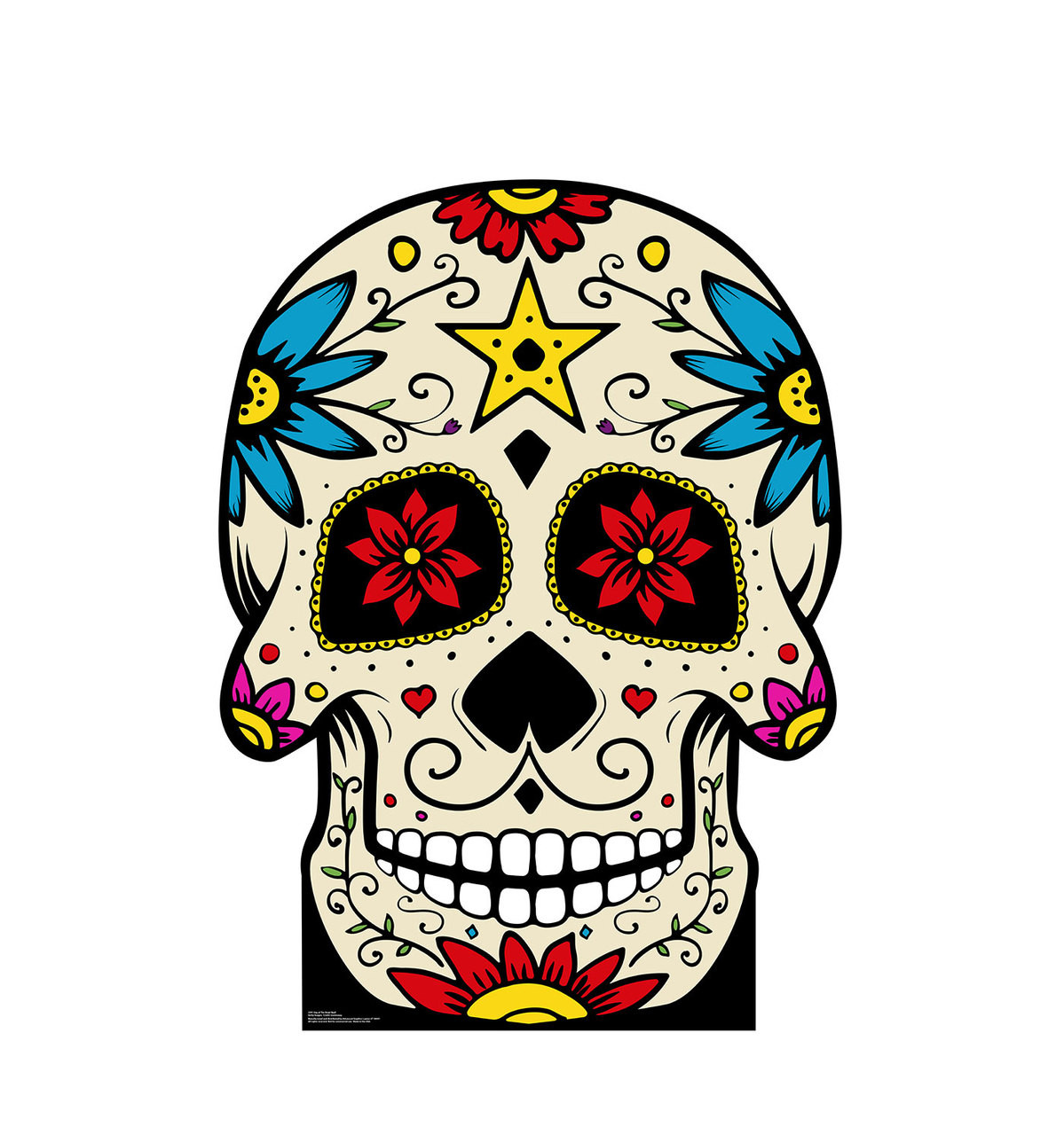 This is an image of Universal Day of the Dead Skull Template Printable