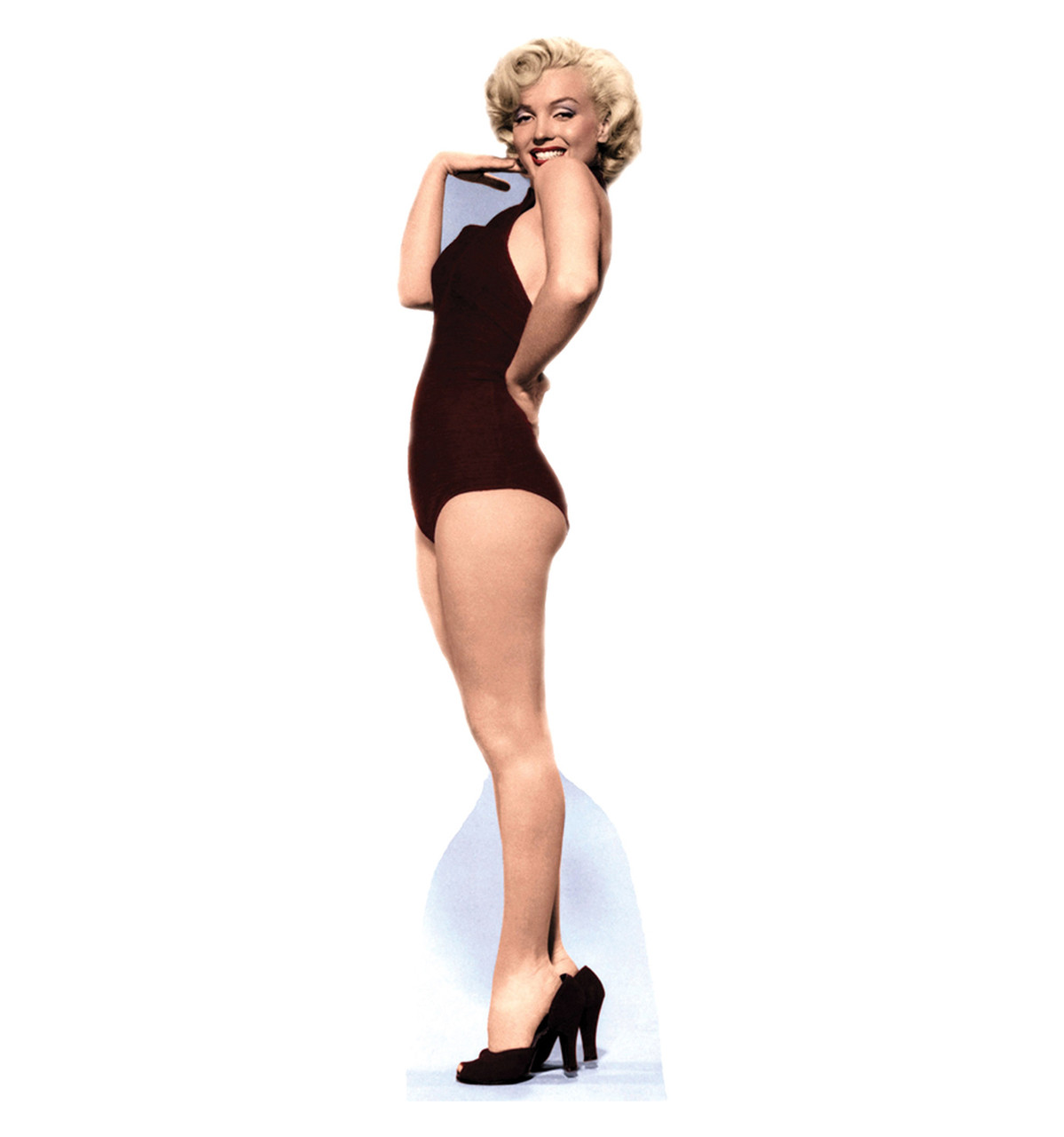 Life size marilyn burgundy swimsuit cardboard standup for Large cardboard cut out numbers