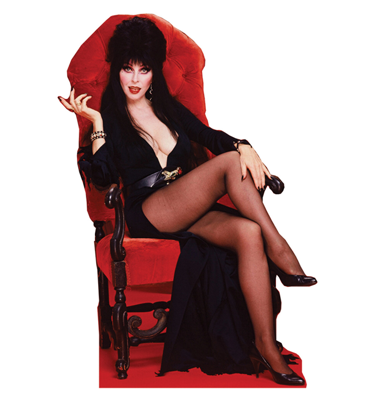 Life Size Elvira Chair Talking Cardboard Standup