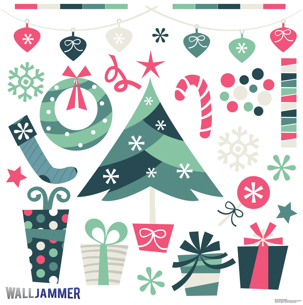Holiday season wall stickers great for christmastime retro christmas amipublicfo Choice Image
