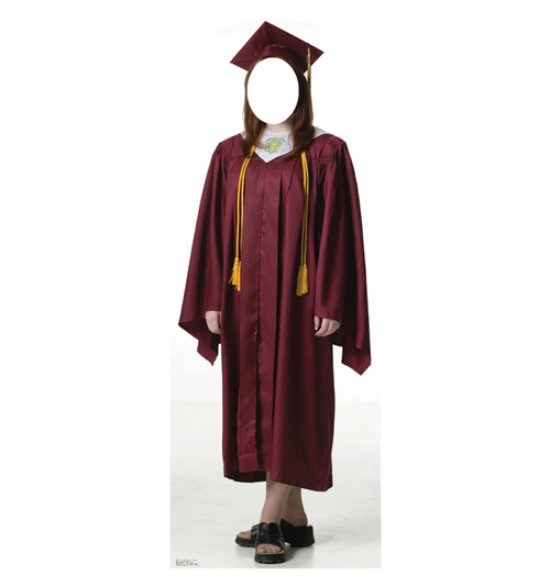 Female Graduate Red Cap and Gown