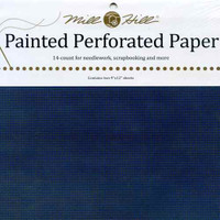 Midnight Blue Painted Perforated Paper Mill Hill 14 Count 9x12 Inches