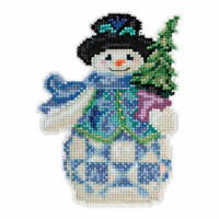 Evergreen Snowman Beaded Counted Cross Stitch Kit Mill Hill 2015 Jim Shore JS205101