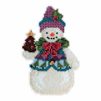 Pinecone Snowman Beaded Counted Cross Stitch Kit Mill Hill 2015 Jim Shore JS205102