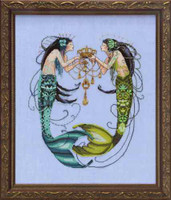 Twin Mermaids Kit Chart Fabric Beads Floss Braid Nora Corbett Mirabilia MD141