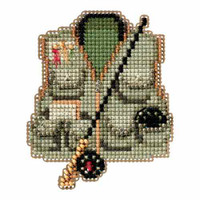 Fishing Vest Bead Cross Stitch Kit Mill Hill 2016 Spring Bouquet MH181614