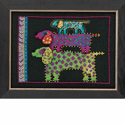 Dog Pyramid Cross Stitch Kit (Linen) Mill Hill 2016 Laurel Burch Dogs LB301615