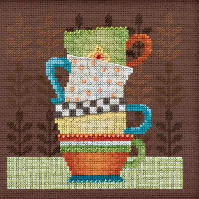 Coffee Cups Cross Stitch Kit Mill Hill Debbie Mumm 2016 Good Coffee & Friends DM301615