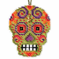 Verde Beaded Cross Stitch Halloween Kit Mill Hill 2016 Calavera MH161622