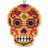 Amarillo Beaded Cross Stitch Halloween Kit Mill Hill 2016 Calavera MH161624