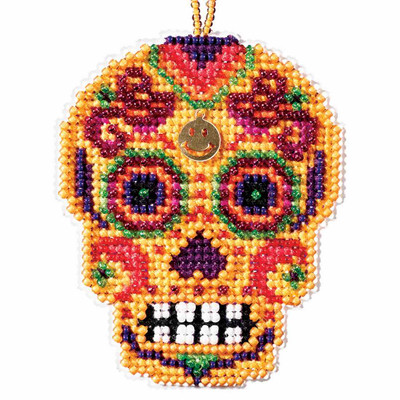 Amarillo Beaded Cross Stitch Halloween Kit Mill Hill 2016 Calavera MH161624